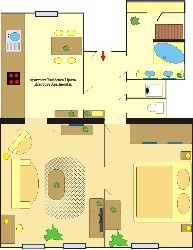 floor plan 1-Bedroom Apartment 85 Sq.m. Residence Lipova - Executive Apartments A,B