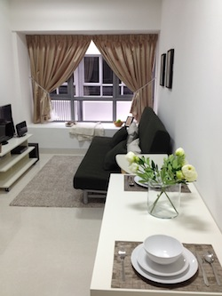 Living Area 1-Bedroom Apartment  Sq.ft. Abiel Corporate Housing