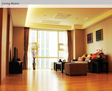 Living Room 1-Bedroom Apartment 68 Sq.m. Fraser Place Central Seoul