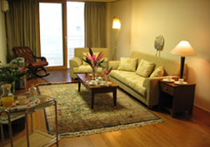 Han Suites look more than serviced residence. Comprising of 120 well equipped and furnished studios, apartments in South Korea impart peaceful and homely feeling to guests.  This  two-bedroom serviced