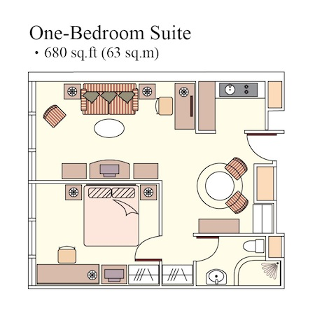 Floorplan 1-Bedroom Apartment  Sq.ft. Harbour Plaza North Point