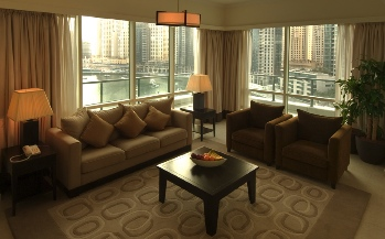 Living Area 3-Bedroom Apartment 123 Sq.m. Nuran Marina Serviced Residences