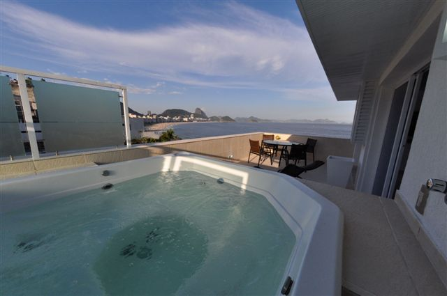 The latest luxury penthouse COPACABANA BEACH PALACE is situated directly opposite the famous Copacabana beach, in the 12th & 13th floor, boasting beautiful sea- and beach views, including full view of
