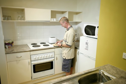 Kitchen 1-Bedroom Apartment 55 Sq.m. Quest Dandenong Serviced Apartments