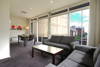 Spectacular views of Melbourne`s Supreme Court district, seen from many apartments, provide the perfect setting at this inner city location. 