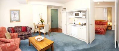 Each of the 57 studio, one and two bedroom apartments within this landmark building are stylishly furnished and complete with fully equipped kitchenette and laundry facilities.