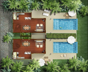 Floor Plan (Lower Floor) 2-Bedroom Apartment 400 Sq.m. The Village Coconut Island